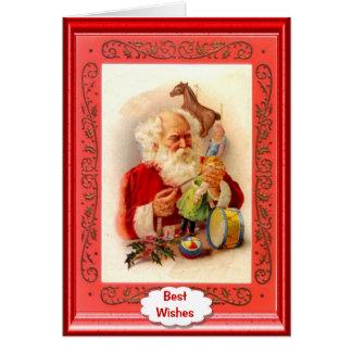 Santa making toys card
