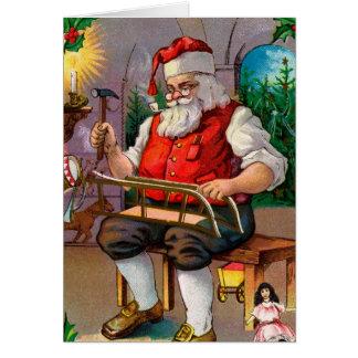 Santa Making Toys Christmas Card