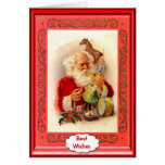 Santa making toys greeting card