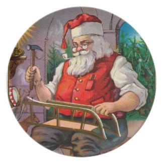 Santa Making Toys Melamine Plate