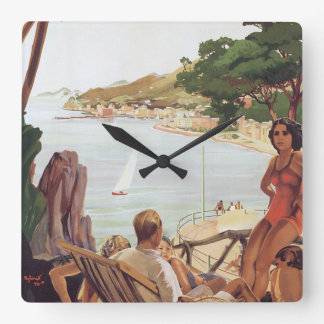 Santa Margherita Ligure Vintage Travel Poster Square Wall Clock