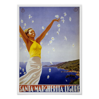 Santa Margherita Ligure with Daisies Poster