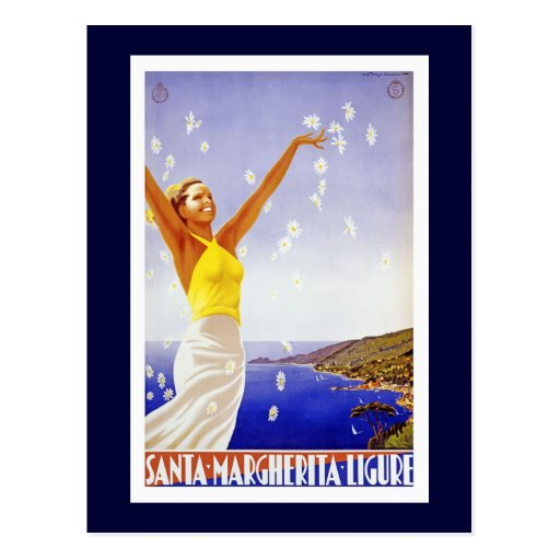 """Santa Margherita, Liguria Vintage Travel Poster Post Cards"