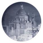 Santa Maria Salute Negative Architecture Blue Dinner Plates