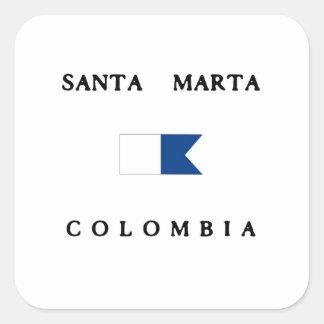 Santa Marta Colombia Alpha Dive Flag Square Sticker