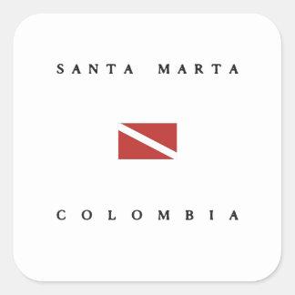 Santa Marta Colombia Scuba Dive Flag Square Stickers