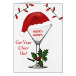 Santa Martini Christmas Lights Get Your Cheer On Cards