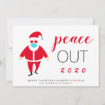 Santa Mask Peace Out 2020 Funny Christmas Holiday Card