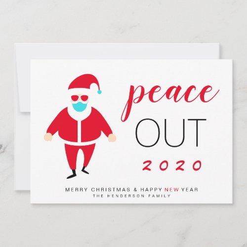 Santa Mask Peace Out 2020 Funny Christmas Holiday Card