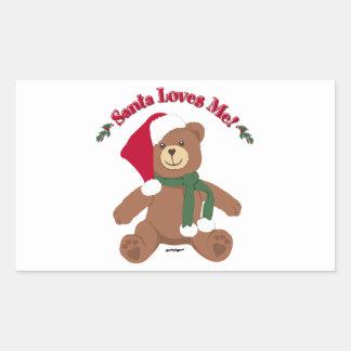 ¡Santa me ama! Oso de peluche del navidad Pegatina Rectangular
