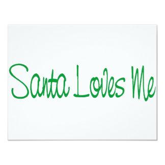 """Santa me ama texto invitación 4.25"""" x 5.5"""""""
