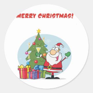 Santa Merry Christmas Classic Round Sticker