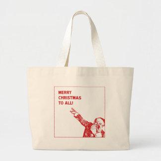 "Santa: ""Merry Christmas to All!"" Large Tote Bag"