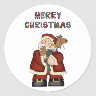 Santa Merry Christmas Toys Fun Stickers