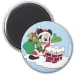 Santa Mickey Going Down Chimney 2 Inch Round Magnet