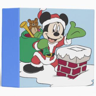 Santa Mickey Going Down Chimney Binder