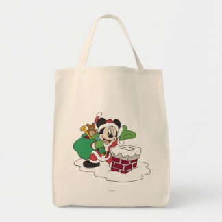 Santa Mickey Going Down Chimney Grocery Tote Bag