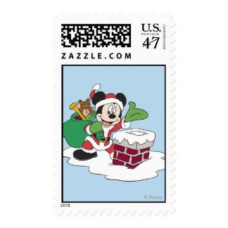 Santa Mickey Going Down Chimney Postage