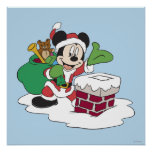 Santa Mickey Going Down Chimney Posters