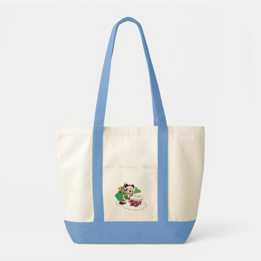 Santa Mickey Going Down Chimney Tote Bags
