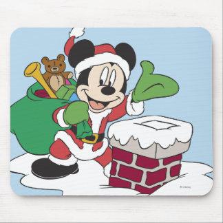Santa Mickey que va abajo de la chimenea Alfombrillas De Raton