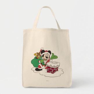 Santa Mickey que va abajo de la chimenea Bolsas De Mano