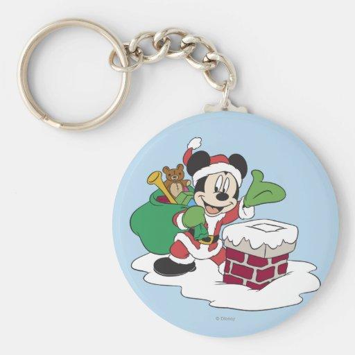 Santa Mickey que va abajo de la chimenea Llavero Redondo Tipo Pin