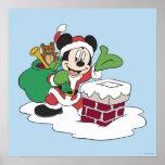 Santa Mickey que va abajo de la chimenea Póster