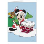 Santa Mickey que va abajo de la chimenea Tarjeta De Felicitación