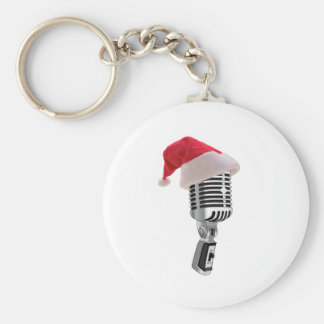santa microphone basic round button keychain