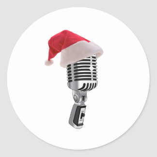santa microphone classic round sticker
