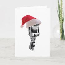 santa microphone holiday card