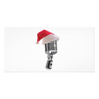 santa microphone photo card
