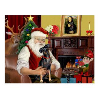 Santa  - Miniature Pinscher (nat) Postcard