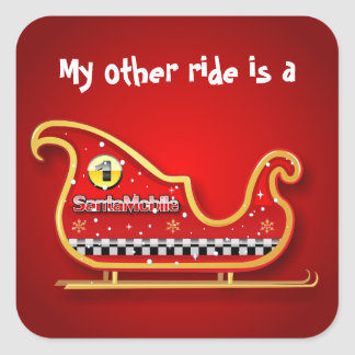 Santa-Mobile - The Reindeer-less Sleigh Square Sticker