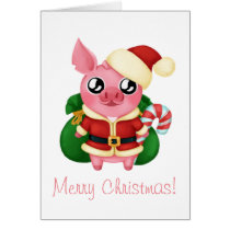 Santa Molly the Micro Pig Card