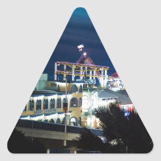 Santa Monica at Night Triangle Sticker