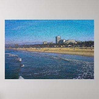 Santa Monica Beach Batik Poster