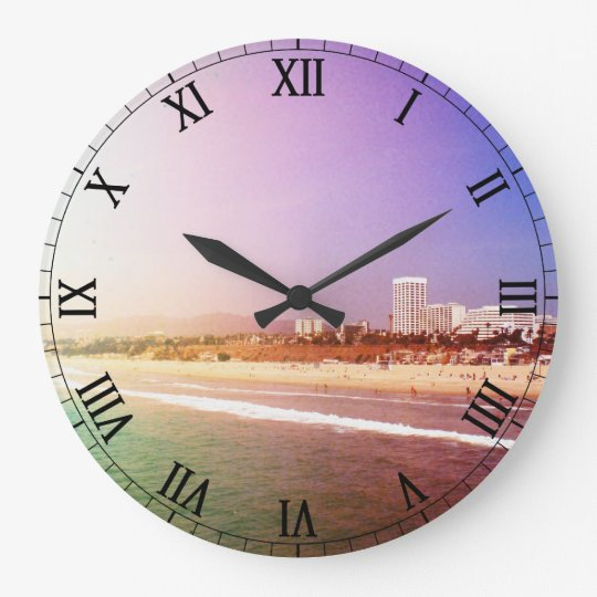 Santa Monica Beach Green Purple Photo Edit Large Clock