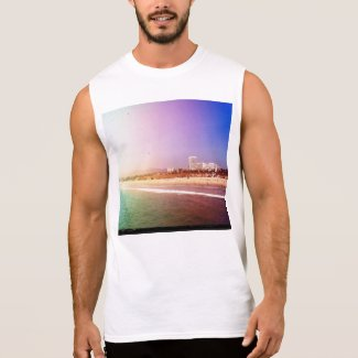 Santa Monica Beach - Green Purple Photo Edit T-Shirt