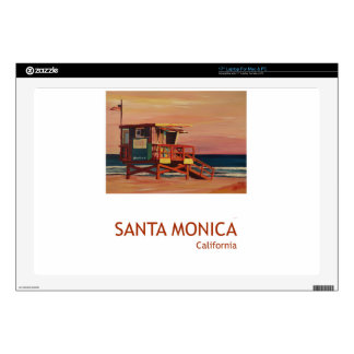 Santa Monica Beach Retro Poster Decal For Laptop