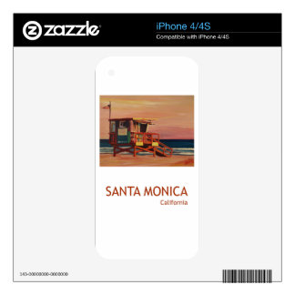 Santa Monica Beach Retro Poster iPhone 4 Skins