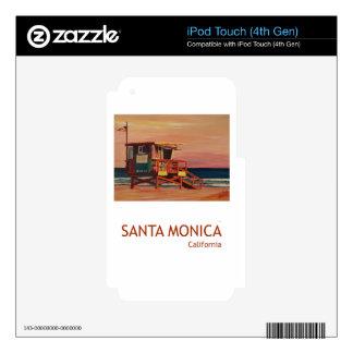 Santa Monica Beach Retro Poster iPod Touch 4G Decals