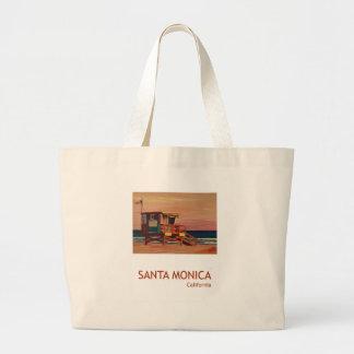 Santa Monica Beach Retro Poster Jumbo Tote Bag
