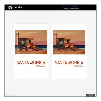 Santa Monica Beach Retro Poster Kindle Fire Decals