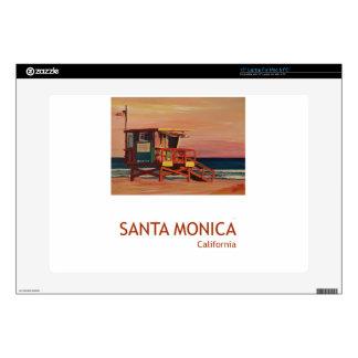 "Santa Monica Beach Retro Poster Skin For 15"" Laptop"