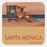 Santa Monica Beach Retro Poster Square Sticker