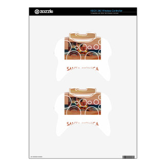 Santa Monica Beach Retro Poster Xbox 360 Controller Skins