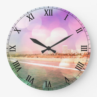 Santa Monica Beach - Sparkling Pink Photo Edit Large Clock
