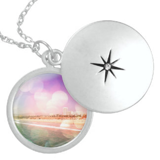 Santa Monica Beach - Sparkling Pink Photo Edit Round Locket Necklace